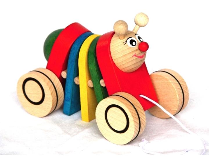 58462e54f Dřevěné tahací hračky – Klapací hračky – Klapačka HOUSENKA barevná – český  výrobek