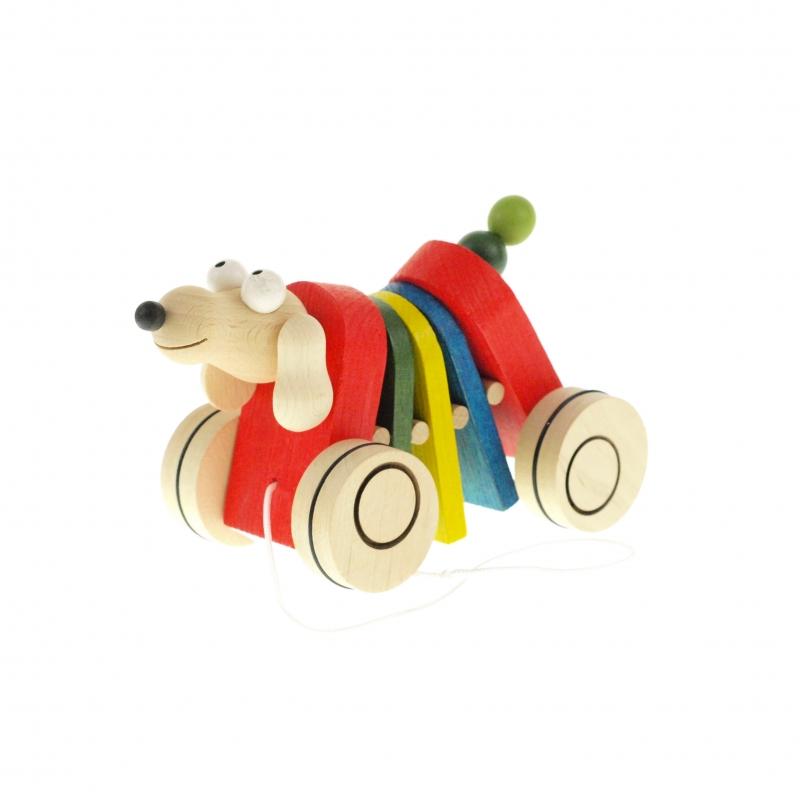 a5d925a2c Dřevěné tahací hračky – klapací hračky – Klapačka PES, PEJSEK strakatý –  český výrobek