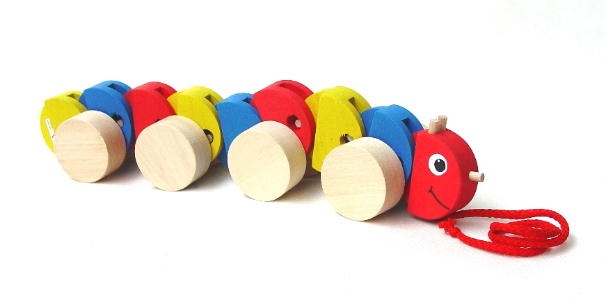 74c58899c Dřevěná tahací hračka – Hračka na provázku – HOUSENKA BAREVNÁ – vlní se