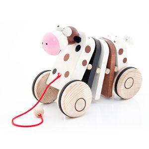 af8f1add9 Dřevěné tahací hračky – klapací hračky – Klapačka – KRÁVA barevná – český  výrobek